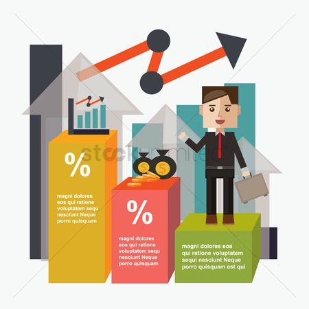 业务金融 : Businessman and infographic