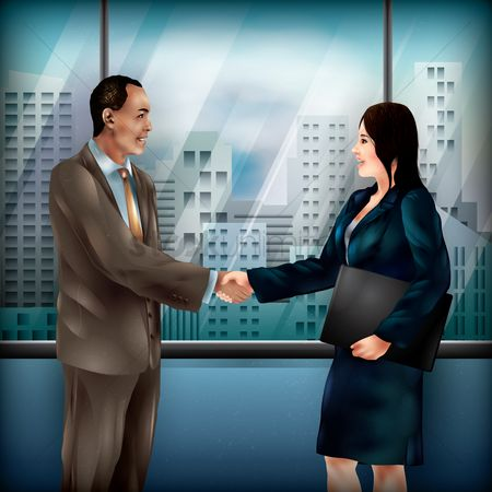 漫画 : Businessman and woman shaking hands