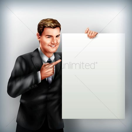 漫画 : Businessman holding placard