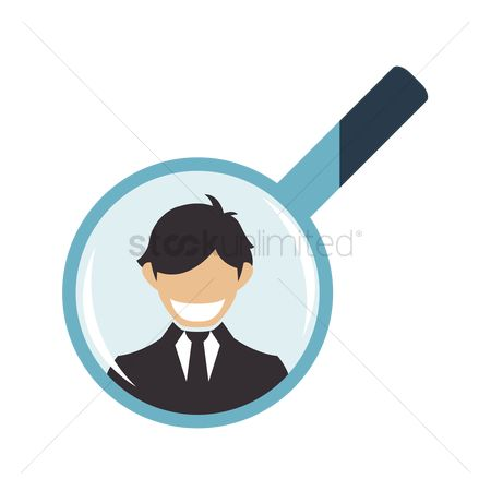 商业 : Businessman in a magnifying glass