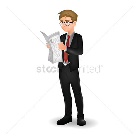 消息 : Businessman reading newspaper