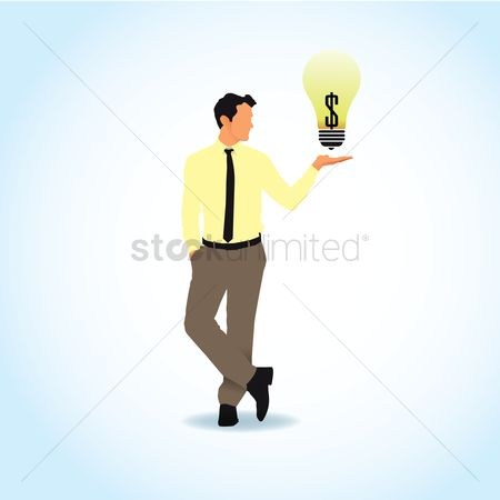 业务金融 : Businessman with lightbulb