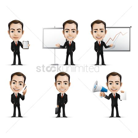 搜藏 : Businessman with various activities