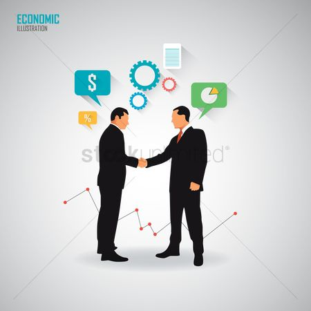 信息图表 : Businessmen shaking hands with each other