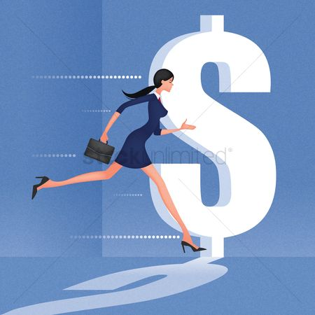 业务金融 : Businesswoman chasing dollar symbol