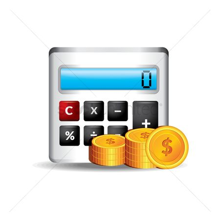 业务金融 : Calculator and coins