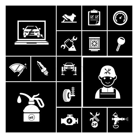 插图剪贴画 : Car service maintenance icons