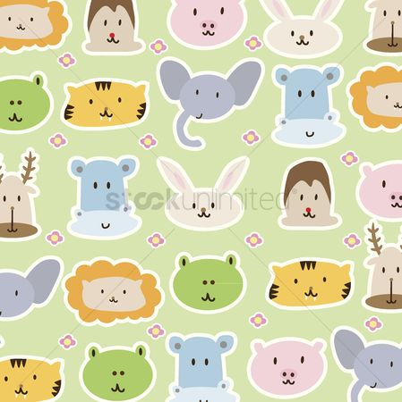漫画 : Cartoon animals background