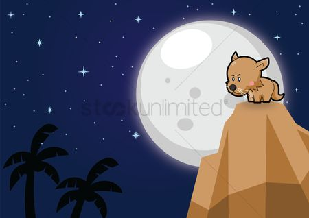 插图剪贴画 : Cat on a mountain over a moonlit background