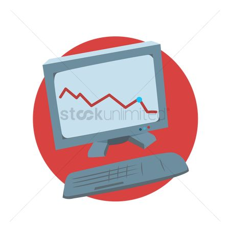 数据 : Chart in the computer monitor