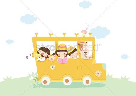 学校 : Children in school bus