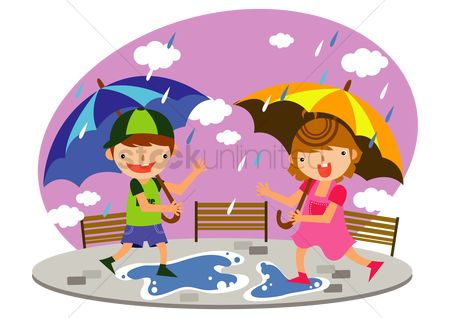 孩子 : Children playing in the rain