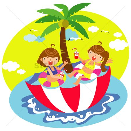 孩子 : Children relaxing in the umbrella swimming pool