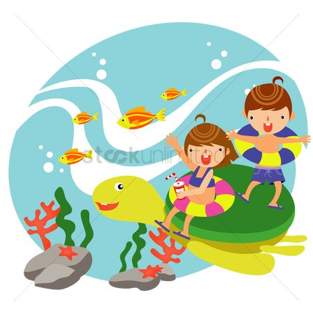 孩子 : Children riding on top of a turtle