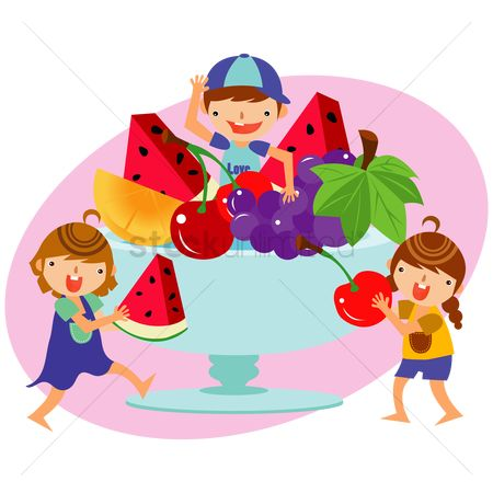 孩子 : Children with a bowl of fruits
