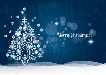 庆典 : Christmas greeting with snowflake tree