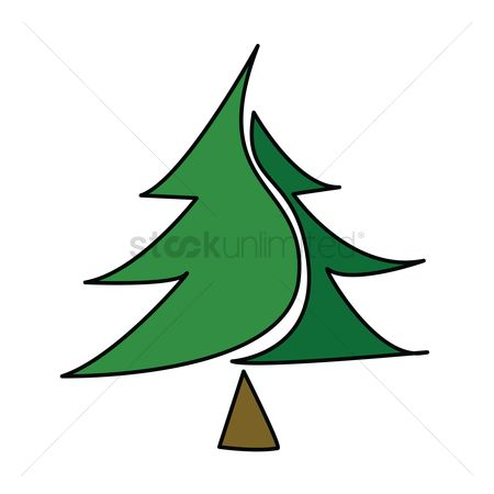 插图剪贴画 : Christmas tree on white background