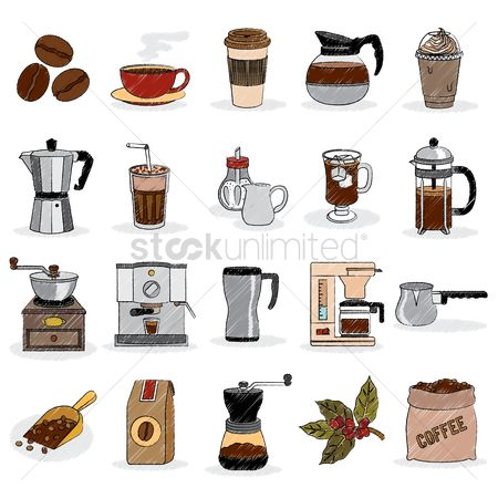 图标 : Coffee set icons