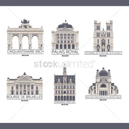 房屋地标 : Collection of belgium monuments
