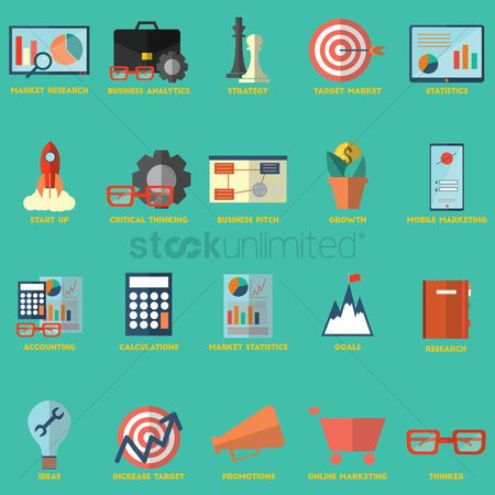 信息图表 : Collection of business strategy icons