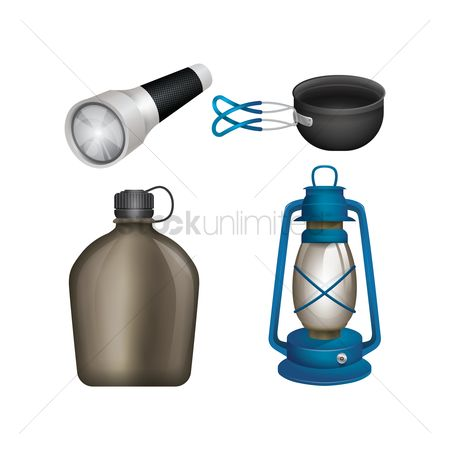 处理 : Collection of camping equipment