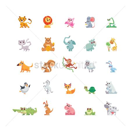 向量 : Collection of cartoon animals