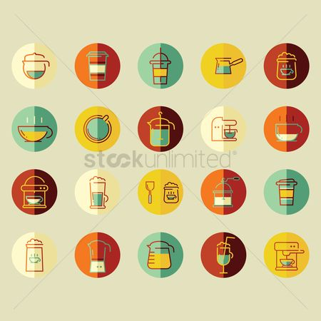 处理 : Collection of coffee icons