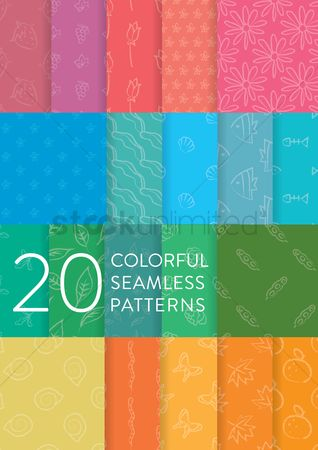 动物 : Collection of colorful seamless patterns