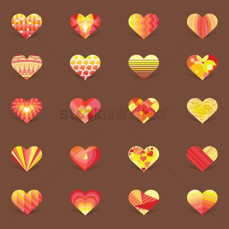 心脏 : Collection of decorative heart design