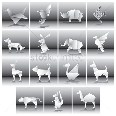 鸟类 : Collection of different paper animals and birds