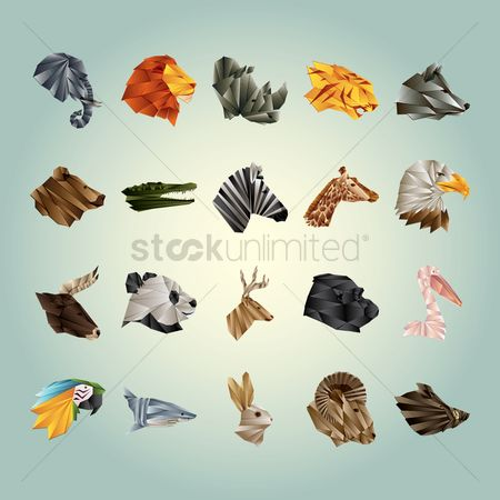 鸟类 : Collection of faceted animals