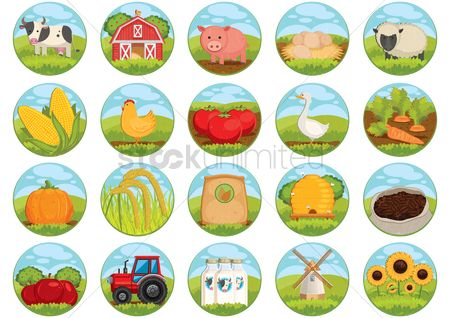 向量 : Collection of farm related icons