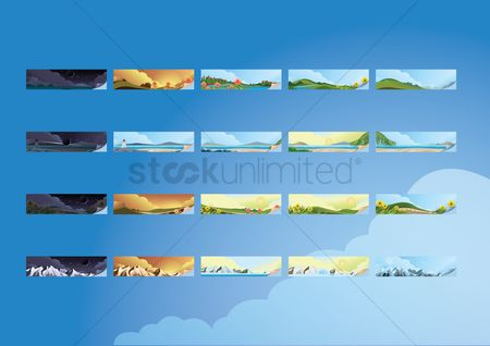 横幅 : Collection of landscape banners