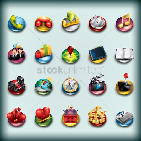 消息 : Collection of mobile app icons