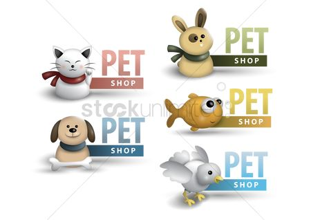 鸟类 : Collection of pet shop labels