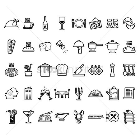 标志 : Collection of restaurant icons