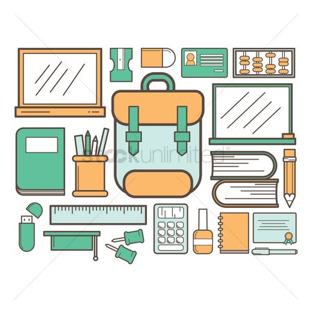 学校 : Collection of school supply