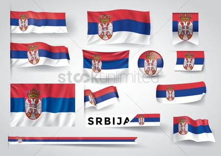 波 : Collection of serbia flags