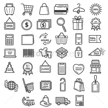 心脏 : Collection of shopping icons
