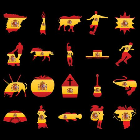 运动员 : Collection of spain icons with spain flag