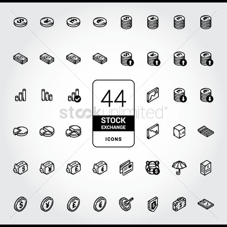 信息图表 : Collection of stock exchange icons