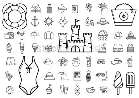 运输 : Collection of summer icons