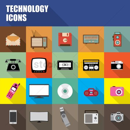 复古 : Collection of technology icons