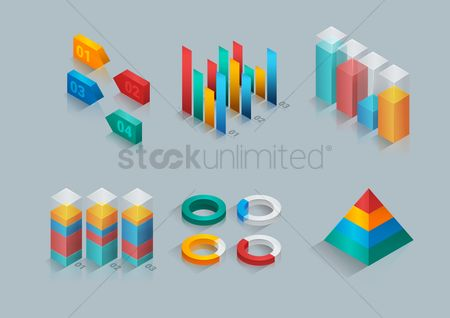 信息图表 : Collection of three dimensional graphs and charts