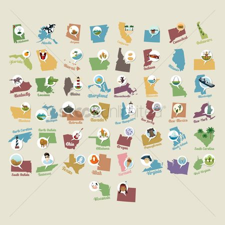 图标 : Collection of usa state maps