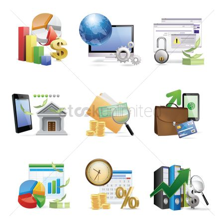 信息图表 : Collection of various financial related objects