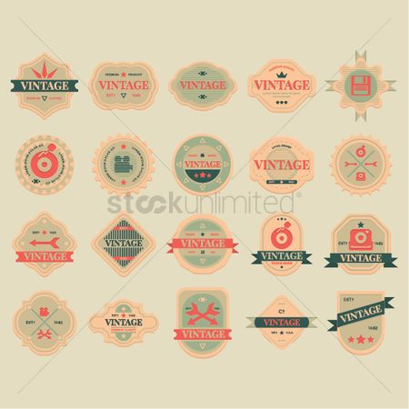 复古 : Collection of vintage labels