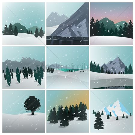 向量 : Collection of winter landscapes