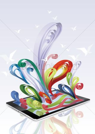 技术 : Colorful ribbon come out from a tablet