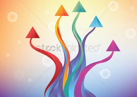 运动 : Colorful textured arrows set illustration with bubbles background
